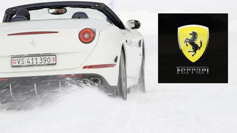ferrari car on snow